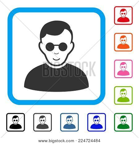 Positive Blind Man vector icon. Person face has gladness feeling. Black, grey, green, blue, red, orange color variants of blind man symbol inside a rounded rectangular frame.