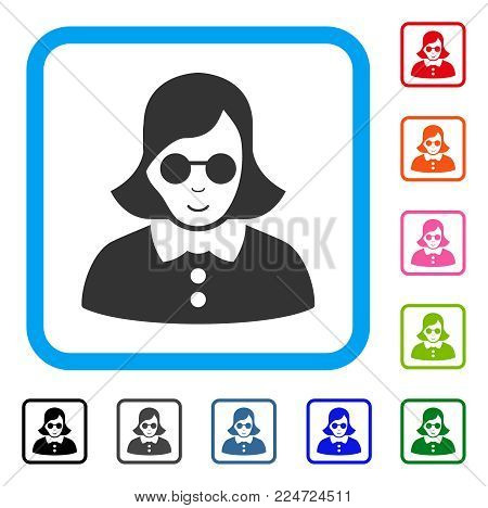 Cheerful Blind Woman vector pictogram. Person face has glad emotion. Black, grey, green, blue, red, pink color variants of blind woman symbol inside a rounded rectangular frame.