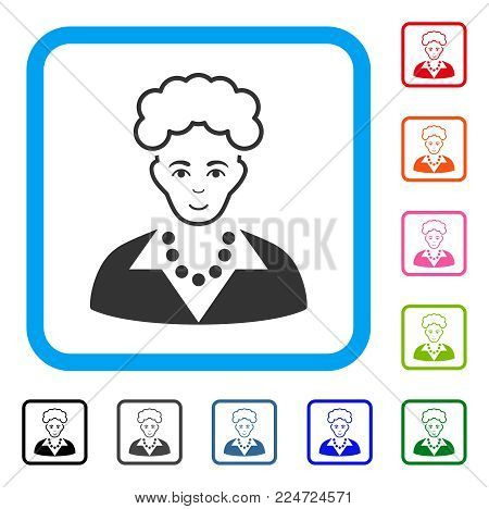 Smiling Blonde Lady vector pictograph. Human face has joyful sentiment. Black, gray, green, blue, red, orange color additional versions of blonde lady symbol in a rounded rectangle.