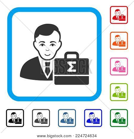 Enjoy Bookkeeper vector pictograph. Person face has happiness emotions. Black, gray, green, blue, red, orange color variants of bookkeeper symbol inside a rounded rectangular frame.