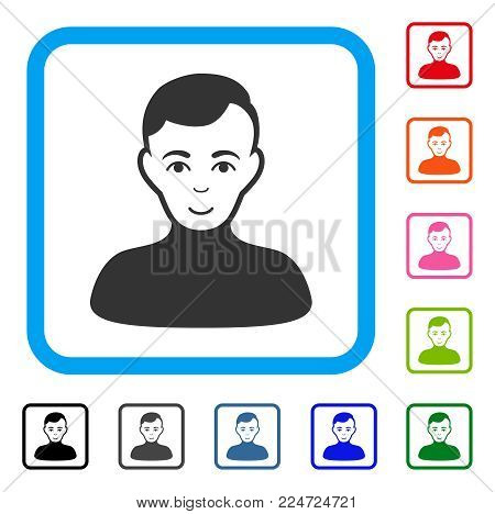 Happiness Boy vector pictograph. Person face has enjoy sentiment. Black, grey, green, blue, red, orange color additional versions of boy symbol inside a rounded rectangle.