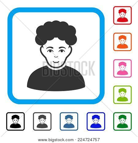 Enjoy Brunet Man vector pictograph. Human face has gladness expression. Black, gray, green, blue, red, pink color additional versions of brunet man symbol inside a rounded rectangle.
