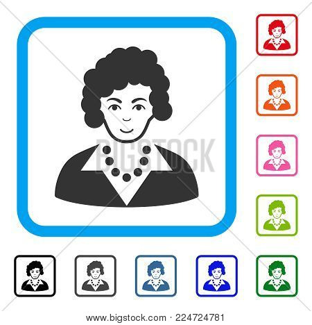 Happy Brunette Lady vector icon. Person face has joyful emotions. Black, gray, green, blue, red, pink color additional versions of brunette lady symbol inside a rounded rectangle.