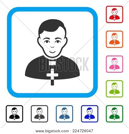 Glad Catholic Priest vector icon. Human face has gladness feeling. Black, grey, green, blue, red, pink color versions of catholic priest symbol in a rounded square.