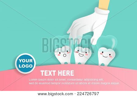 cute cartoon with invisible braces concept on green background