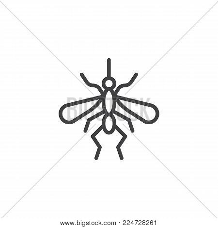 Mosquito line icon, outline vector sign, linear style pictogram isolated on white. Gnat symbol, logo illustration. Editable stroke