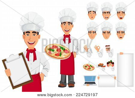 Young professional chef in uniform and cook hat. Smiling cartoon character creation set. Restaurant staff character. Build your personal design - stock vector