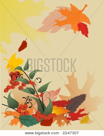 Fall Leaves On Textured Background