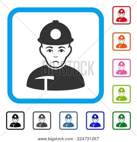 Unhappy Miner vector pictograph. Human face has affliction sentiment. Black, gray, green, blue, red, orange color versions of miner symbol in a rounded rectangle.