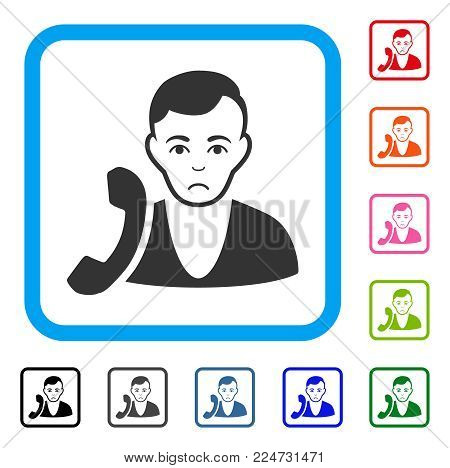 Receptionist raster flat pictogram. Person face has glad feeling.