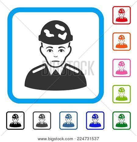 Soldier raster flat pictogram. Human face has glad emotion.