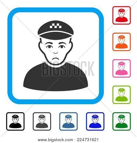 Sadly Taxi Driver vector pictograph. Person face has stress mood. Black, grey, green, blue, red, orange color variants of taxi driver symbol in a rounded square.