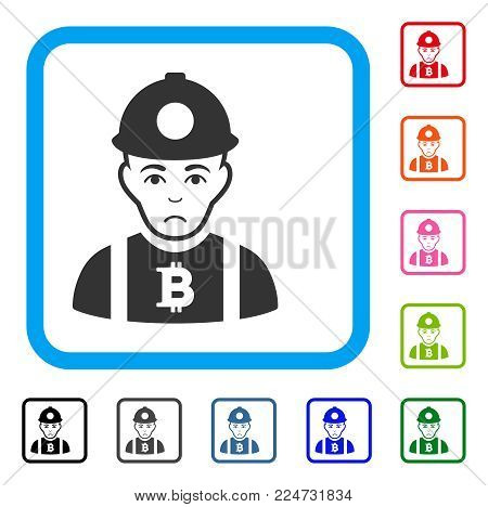 Sad Bitcoin Miner vector icon. Person face has sorrow feeling. Black, gray, green, blue, red, orange color versions of bitcoin miner symbol inside a rounded rectangular frame.