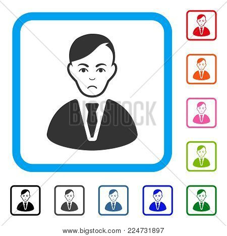 Sad Businessman vector pictograph. Human face has desperate sentiment. Black, gray, green, blue, red, pink color variants of businessman symbol inside a rounded rectangle.