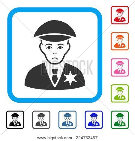 Dolor Sheriff vector icon. Human face has dolor sentiment. Black, gray, green, blue, red, pink color versions of sheriff symbol in a rounded rectangle.