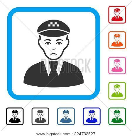 Pitiful Taxi Driver vector pictogram. Person face has grief sentiment. Black, grey, green, blue, red, pink color variants of taxi driver symbol in a rounded squared frame.