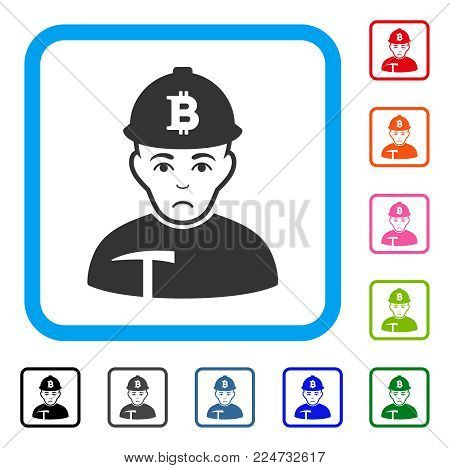 Sad Bitcoin Miner vector pictogram. Person face has dolour emotions. Black, gray, green, blue, red, pink color variants of bitcoin miner symbol inside a rounded squared frame.