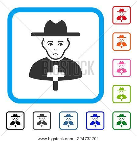 Pitiful Catholic Priest vector pictogram. Person face has mourning sentiment. Black, gray, green, blue, red, orange color variants of catholic priest symbol inside a rounded squared frame.