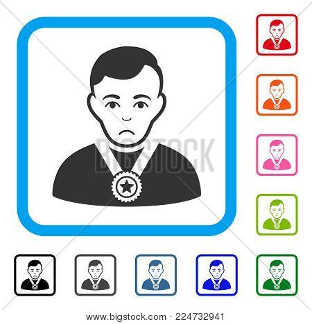 Unhappy Champion vector icon. Person face has stress sentiment. Black, gray, green, blue, red, orange color variants of champion symbol inside a rounded frame.