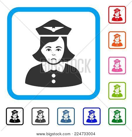 Sadly Airline Stewardess vector icon. Human face has sadness emotion. Black, gray, green, blue, red, orange color variants of airline stewardess symbol in a rounded frame.