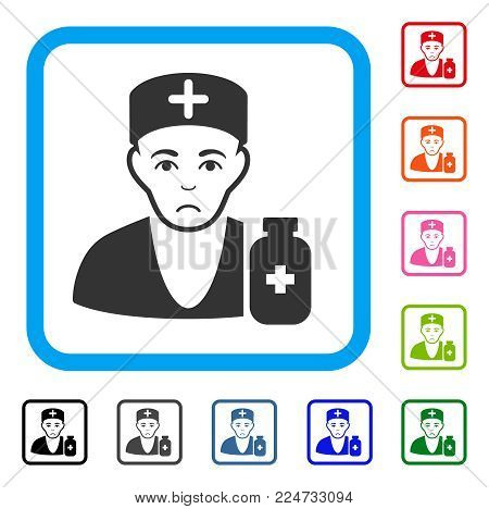 Sadly Apothecary Doctor vector pictogram. Human face has sad emotions. Black, gray, green, blue, red, orange color versions of apothecary doctor symbol in a rounded squared frame.