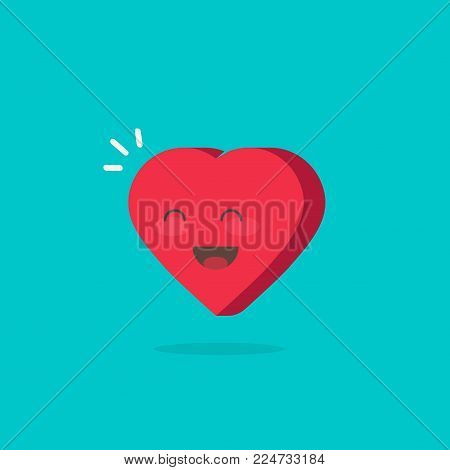 Happy cheerful heart vector illustration isolated, flat cartoon heart character with lovely smile face or happiness, idea or romantic comic gift icon, amour or joyful emotion