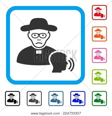 Pitiful Believer Confession vector pictogram. Human face has desperate sentiment. Black, grey, green, blue, red, pink color variants of believer confession symbol inside a rounded rectangle.
