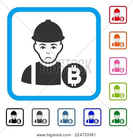 Pitiful Bitcoin Miner vector pictogram. Person face has depression expression. Black, grey, green, blue, red, pink color variants of bitcoin miner symbol inside a rounded rectangle.