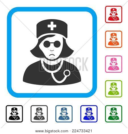 Unhappy Blind Nurse vector pictograph. Person face has sad emotions. Black, gray, green, blue, red, pink color variants of blind nurse symbol inside a rounded square.