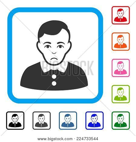 Unhappy Boy vector pictograph. Human face has depression feeling. Black, gray, green, blue, red, pink color versions of boy symbol inside a rounded rectangular frame.