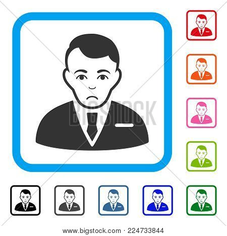 Dolor Businessman vector pictograph. Human face has depressed expression. Black, grey, green, blue, red, pink color versions of businessman symbol inside a rounded squared frame.