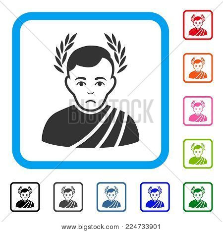 Dolor Caesar Wreath vector icon. Person face has dolour sentiment. Black, gray, green, blue, red, orange color variants of caesar wreath symbol inside a rounded squared frame.