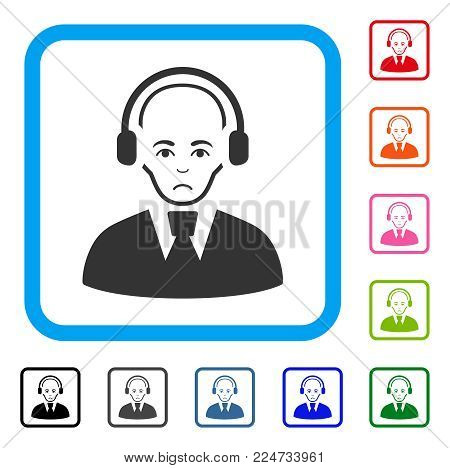 Dolor Call Center Worker vector pictograph. Person face has stress expression. Black, grey, green, blue, red, orange color versions of call center worker symbol inside a rounded frame.