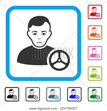 Sadly Car Driver vector icon. Person face has sadly expression. Black, gray, green, blue, red, orange color variants of car driver symbol in a rounded squared frame.