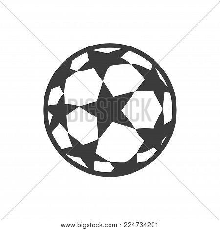Soccer ball icon. Flat vector illustration in black.