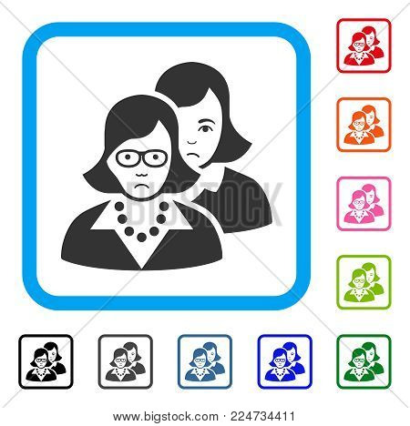 Dolor Clever Women vector icon. Human face has sorrow emotion. Black, grey, green, blue, red, pink color versions of clever women symbol in a rounded squared frame.