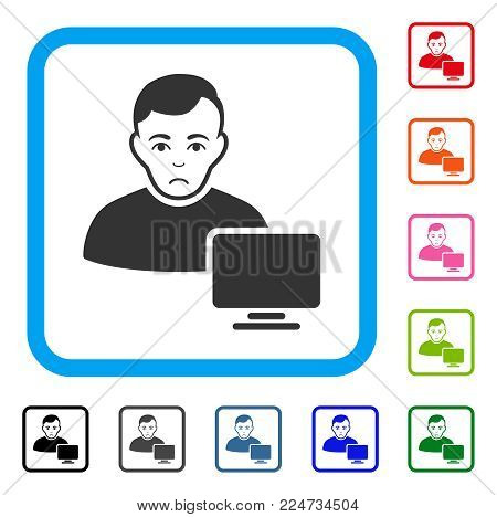 Dolor Computer Administrator vector pictogram. Person face has stress expression. Black, gray, green, blue, red, orange color versions of computer administrator symbol inside a rounded frame.