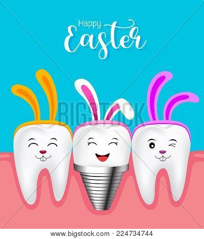 Cute tooth characters with rabbit ears decoration and implant. Happy Easter concept. illustration isolated on blue background.