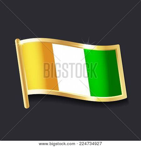 flag of Cote d'Ivoire in the form of badge, flat image