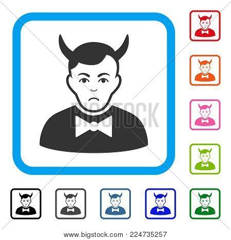 Sad Devil vector pictograph. Human face has affliction emotion. Black, gray, green, blue, red, orange color variants of devil symbol in a rounded squared frame.