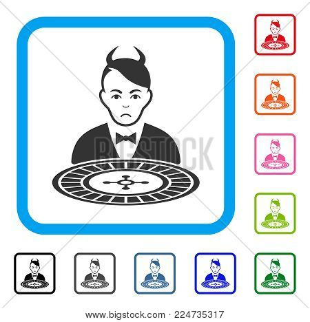 Pitiful Devil Roulette Dealer vector icon. Person face has stress emotion. Black, gray, green, blue, red, orange color versions of devil roulette dealer symbol in a rounded squared frame.