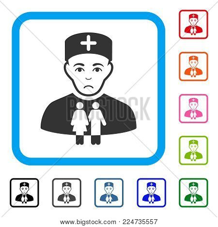 Pitiful Family Doctor vector icon. Person face has problem expression. Black, gray, green, blue, red, pink color versions of family doctor symbol in a rounded rectangular frame.