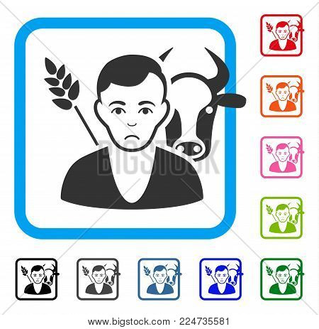 Unhappy Farmer vector icon. Person face has stress emotion. Black, gray, green, blue, red, pink color variants of farmer symbol in a rounded squared frame.