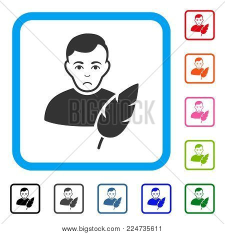 Pitiful Feather Writer vector pictograph. Person face has dolor sentiment. Black, gray, green, blue, red, orange color versions of feather writer symbol in a rounded rectangular frame.