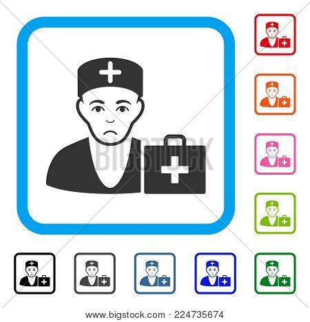 Dolor First-Aid Doctor vector pictogram. Person face has depressed emotion. Black, gray, green, blue, red, pink color versions of first-aid doctor symbol inside a rounded frame.
