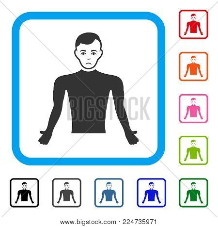 Sad Guy Body vector icon. Human face has depressed emotions. Black, gray, green, blue, red, orange color versions of guy body symbol inside a rounded square.