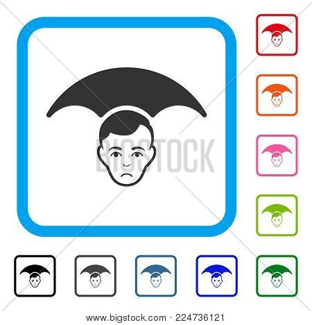Unhappy Head Umbrella vector pictogram. Human face has sad feeling. Black, gray, green, blue, red, pink color versions of head umbrella symbol inside a rounded rectangular frame.
