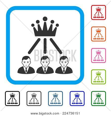 Sad Hierarchy Men vector pictograph. Person face has affliction expression. Black, gray, green, blue, red, pink color variants of hierarchy men symbol inside a rounded rectangular frame.