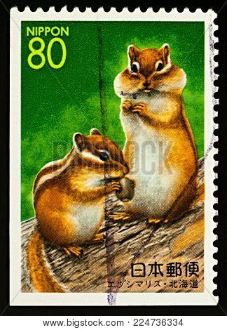 Moscow, Russia - February 02, 2018: A stamp printed in Japan shows two Hokkaido Chipmunks (Eutamias sibiricus lineatus), series