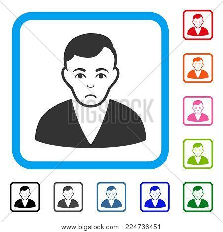 Pitiful Man vector icon. Human face has sorrow emotions. Black, gray, green, blue, red, orange color versions of man symbol in a rounded square.